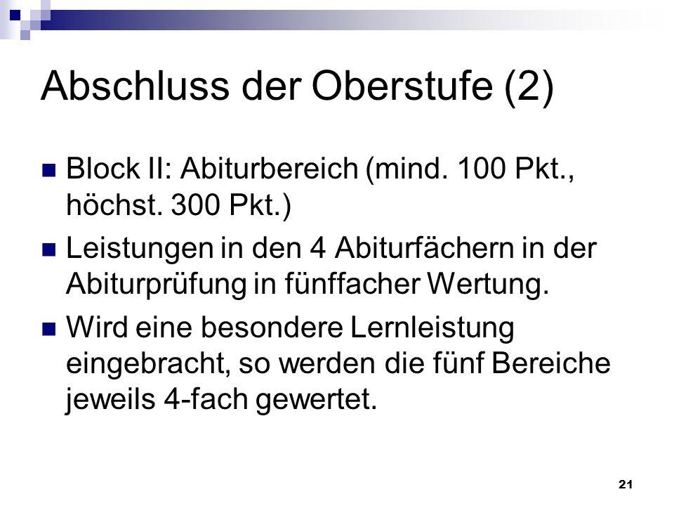 21 Abschluss der Oberstufe (2) Block II: Abiturbereich (mind.