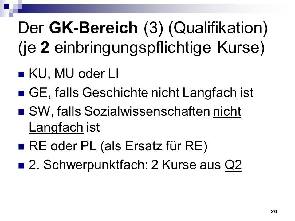 26 Der GK-Bereich (3) (Qualifikation) (je 2 einbringungspflichtige Kurse) KU, MU oder LI GE, falls Geschichte nicht Langfach ist SW, falls Sozialwissenschaften nicht Langfach ist RE oder PL (als Ersatz für RE) 2.