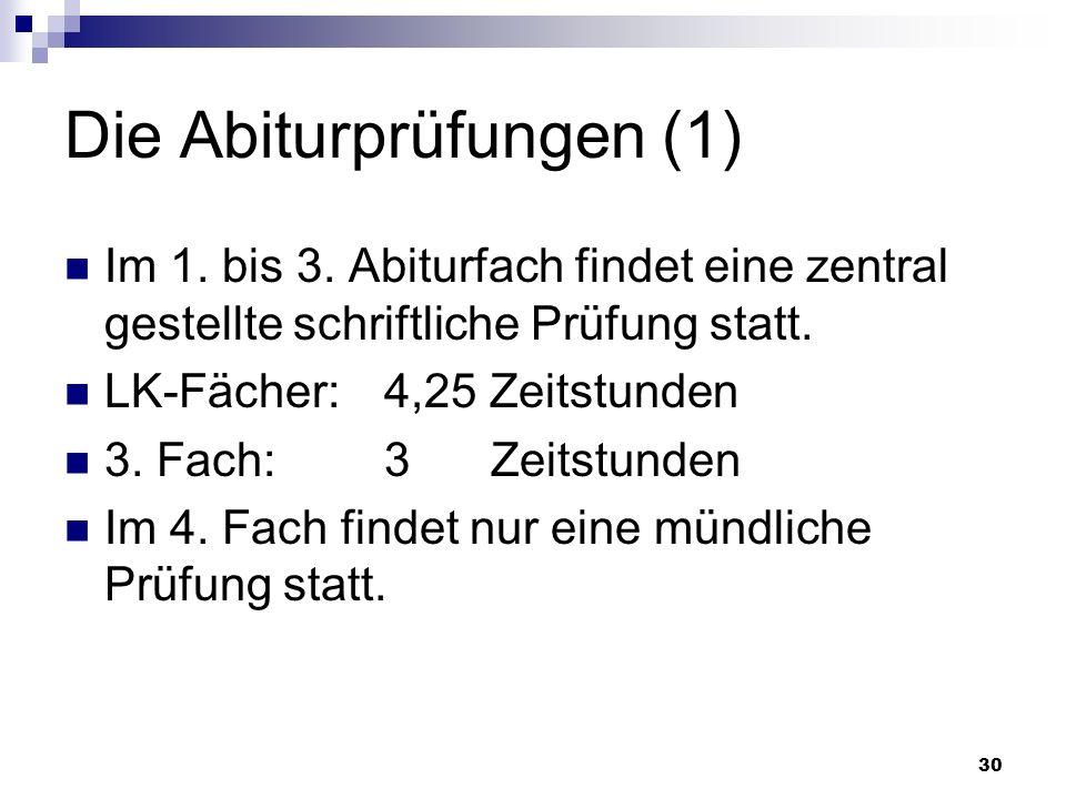 30 Die Abiturprüfungen (1) Im 1. bis 3.