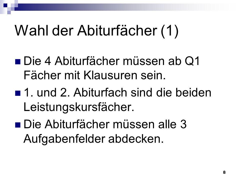9 Wahl der Abiturfächer (2) 2 der drei Fächer D, FS, M müssen Abiturfach sein.