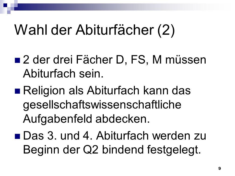 10 Klausurverpflichtung Q1 bis Q2,1 alle 4 Abiturfächer D M eine FS und eine weitere FS, falls Bereich I Schwerpunkt ist eine Gesellschaftswissenschaft, falls Religion als Abifach nicht garantiert ist Ein Fach aus Ber.