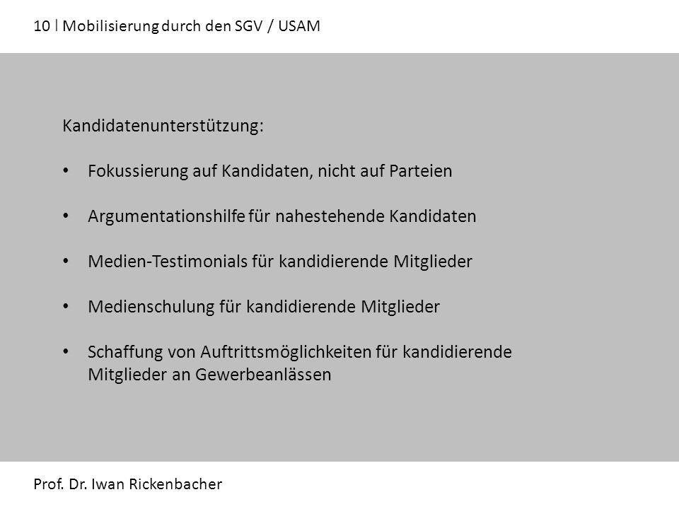 10 ǀ Mobilisierung durch den SGV / USAM Prof. Dr.