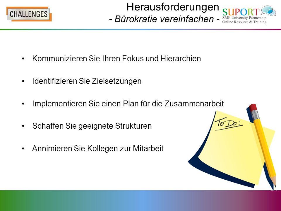 Herausforderungen - Bürokratie vereinfachen - Kommunizieren Sie Ihren Fokus und Hierarchien Identifizieren Sie Zielsetzungen Implementieren Sie einen