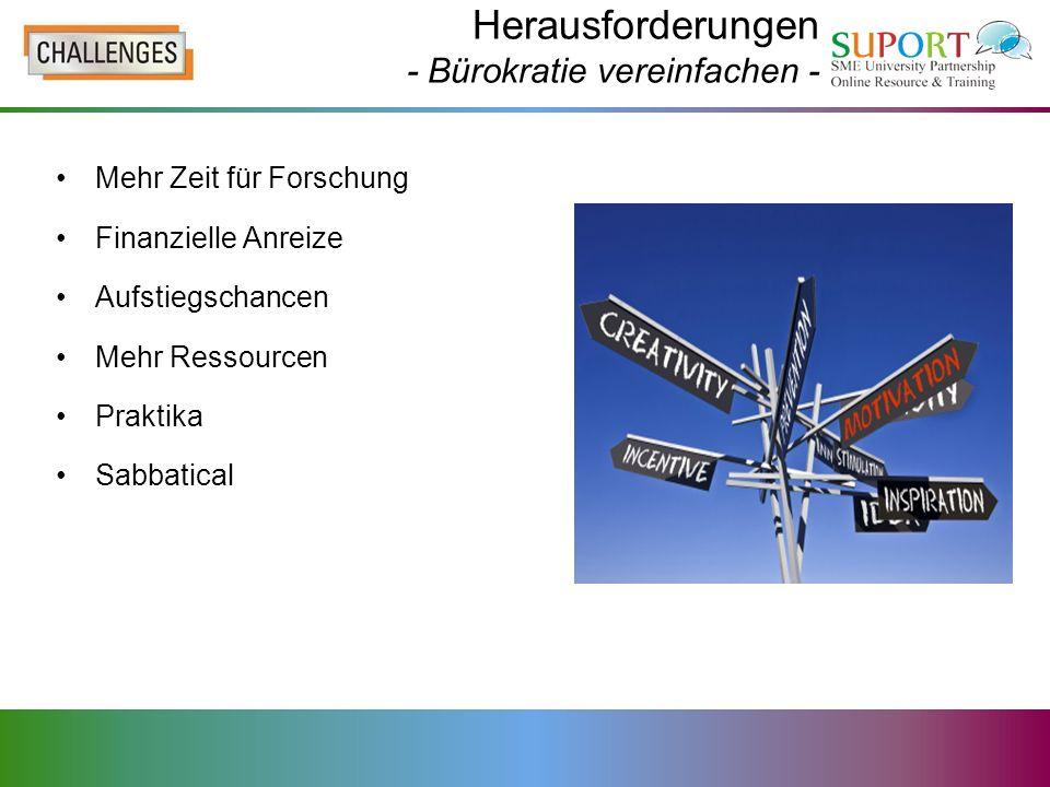 Herausforderungen - Bürokratie vereinfachen - Mehr Zeit für Forschung Finanzielle Anreize Aufstiegschancen Mehr Ressourcen Praktika Sabbatical