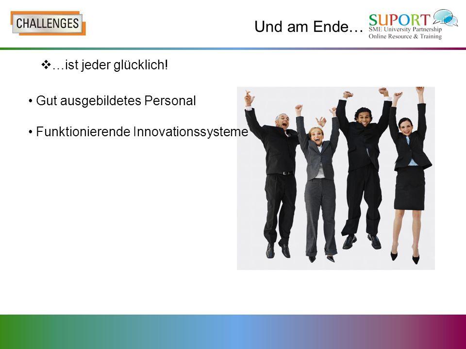 Und am Ende… …ist jeder glücklich! Gut ausgebildetes Personal Funktionierende Innovationssysteme