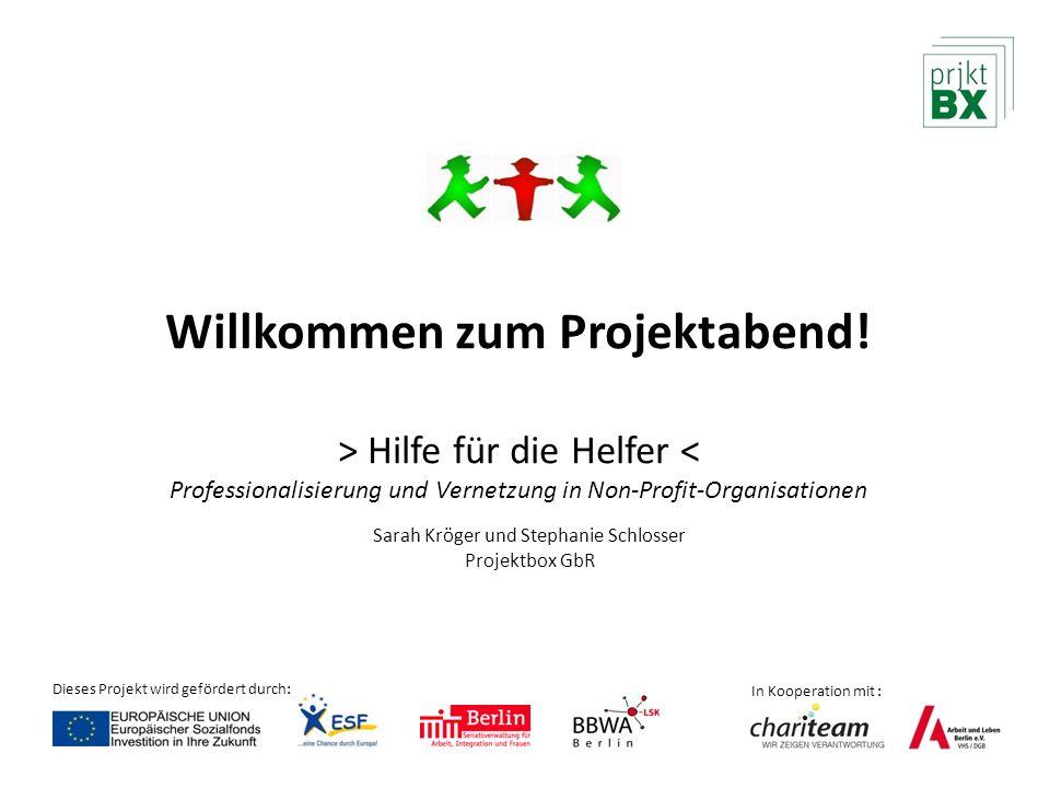 Willkommen zum Projektabend! > Hilfe für die Helfer < Professionalisierung und Vernetzung in Non-Profit-Organisationen Dieses Projekt wird gefördert d