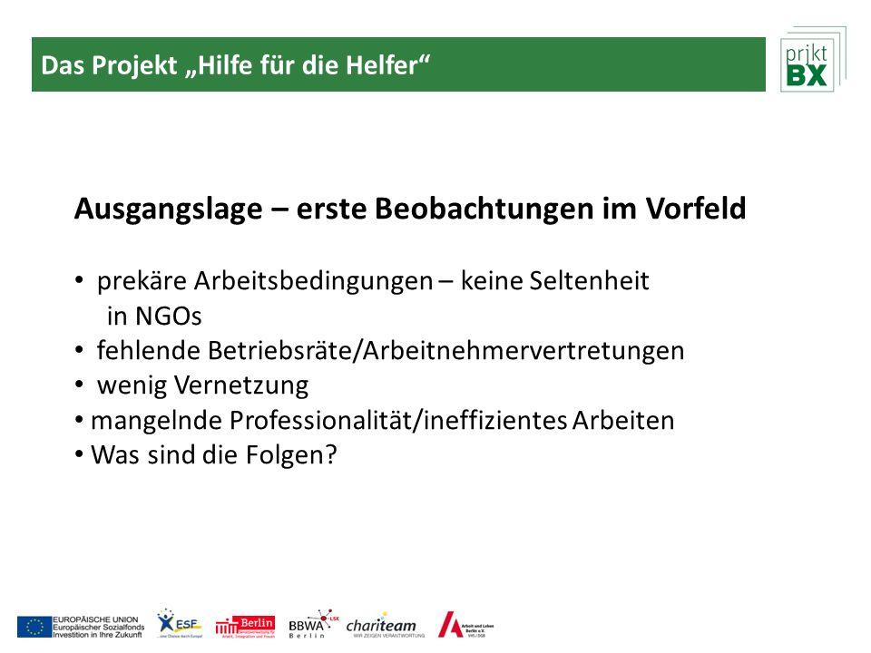 Das Projekt Hilfe für die Helfer Die Zielgruppe Angestellte, Ehrenamtliche und Honorarkräfte in Non-Profit-Organisationen in Tempelhof-Schöneb.