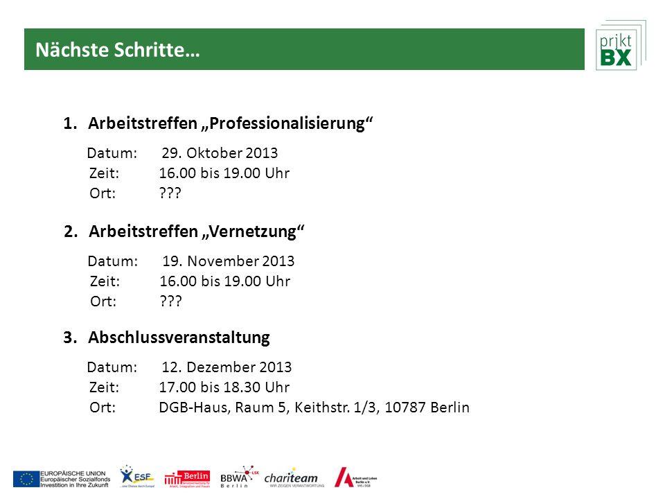 Nächste Schritte… 1.Arbeitstreffen Professionalisierung Datum:29. Oktober 2013 Zeit:16.00 bis 19.00 Uhr Ort:??? 2.Arbeitstreffen Vernetzung Datum:19.