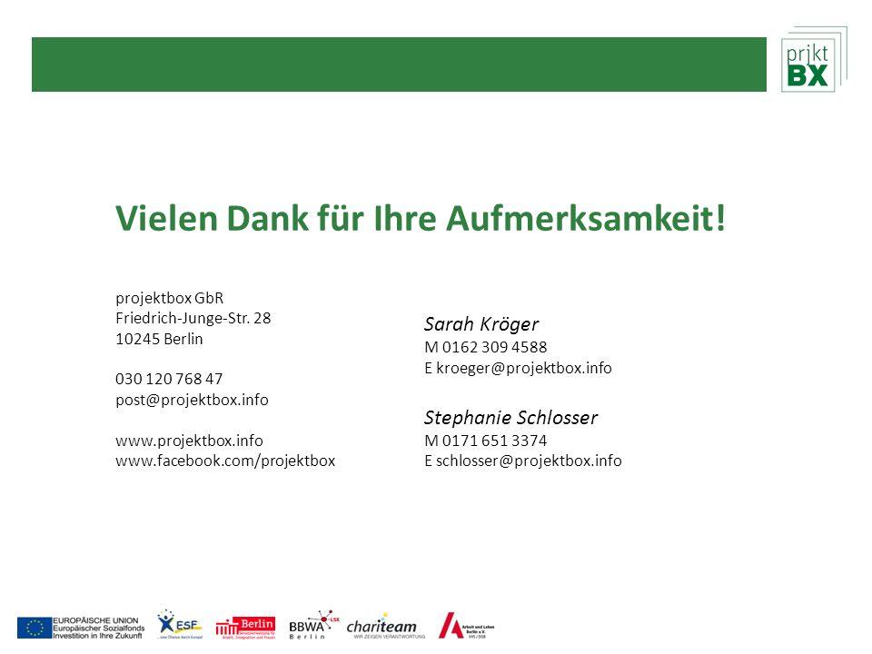 Vielen Dank für Ihre Aufmerksamkeit! projektbox GbR Friedrich-Junge-Str. 28 10245 Berlin 030 120 768 47 post@projektbox.info www.projektbox.info www.f