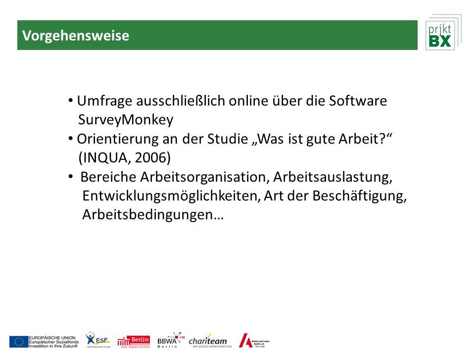 Vorgehensweise Umfrage ausschließlich online über die Software SurveyMonkey Orientierung an der Studie Was ist gute Arbeit? (INQUA, 2006) Bereiche Arb