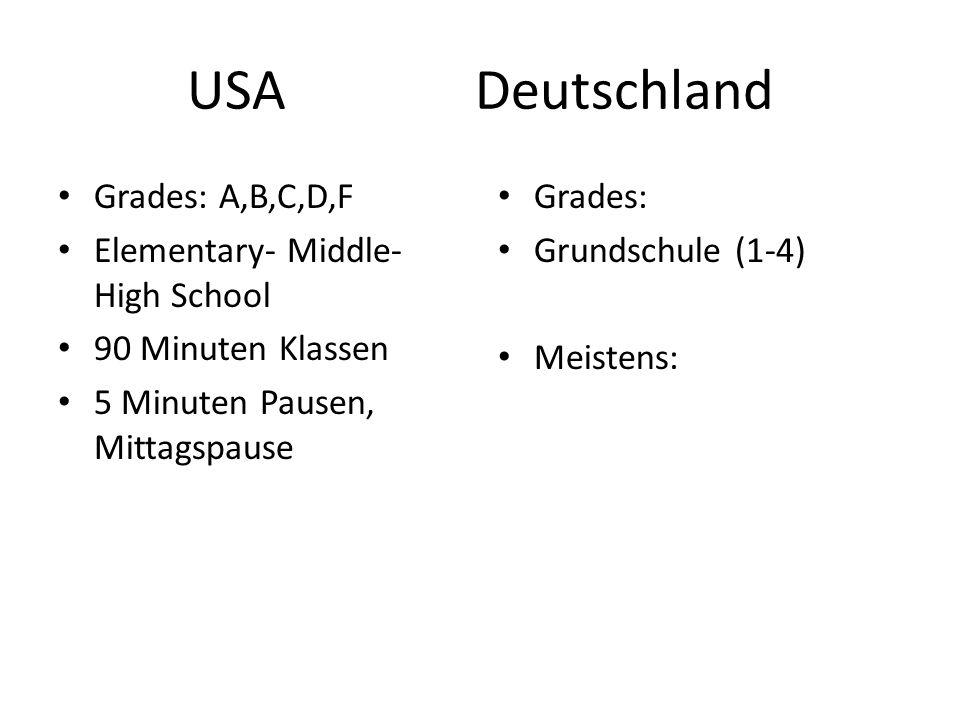 USADeutschland Grades: A,B,C,D,F Elementary- Middle- High School 90 Minuten Klassen 5 Minuten Pausen, Mittagspause Grades: Grundschule (1-4) Meistens: