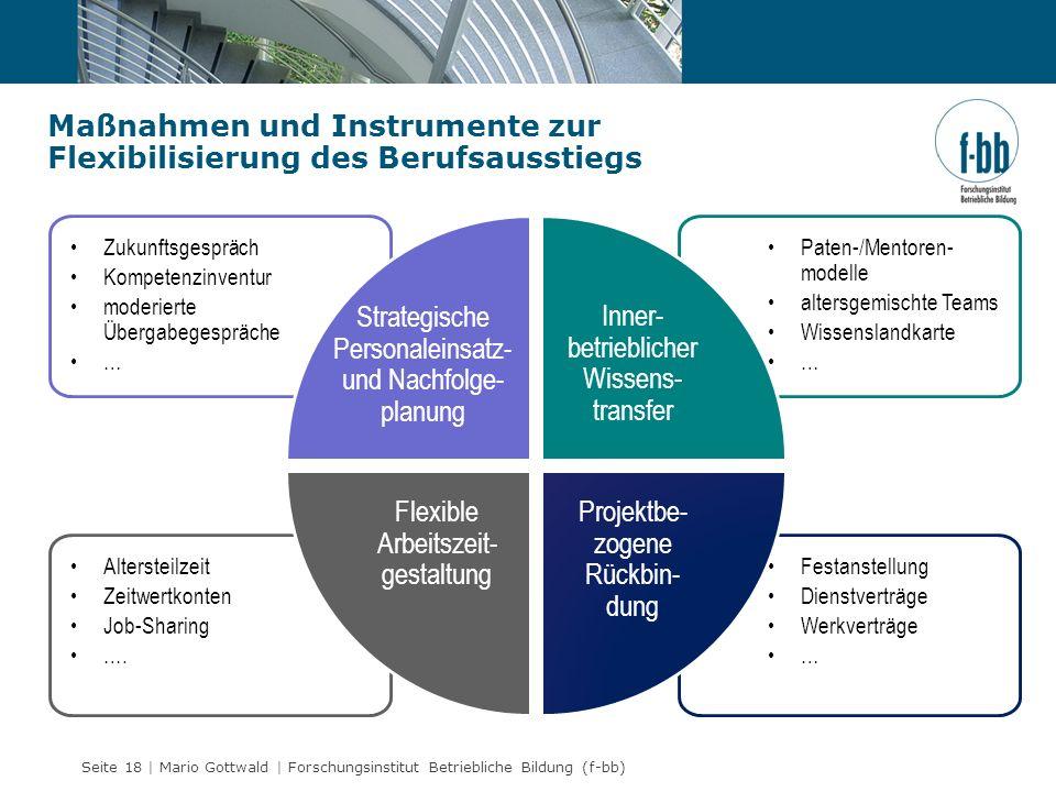 Seite 18 | Mario Gottwald | Forschungsinstitut Betriebliche Bildung (f-bb) Maßnahmen und Instrumente zur Flexibilisierung des Berufsausstiegs Festanst