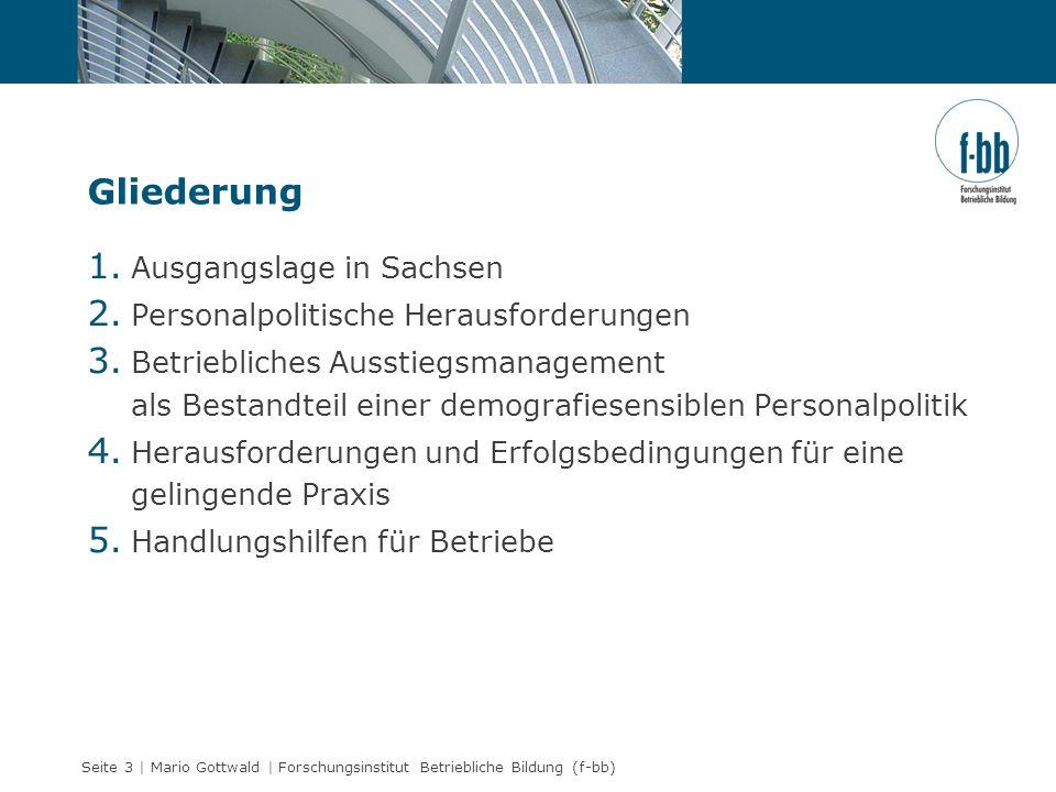 Seite 3 | Mario Gottwald | Forschungsinstitut Betriebliche Bildung (f-bb) Gliederung 1. Ausgangslage in Sachsen 2. Personalpolitische Herausforderunge
