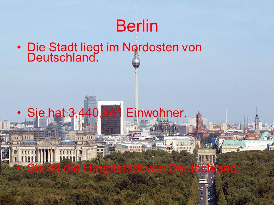 Berlin Die Stadt liegt im Nordosten von Deutschland. Sie hat 3,440,441 Einwohner. Sie ist die Hauptstadt von Deutschland.