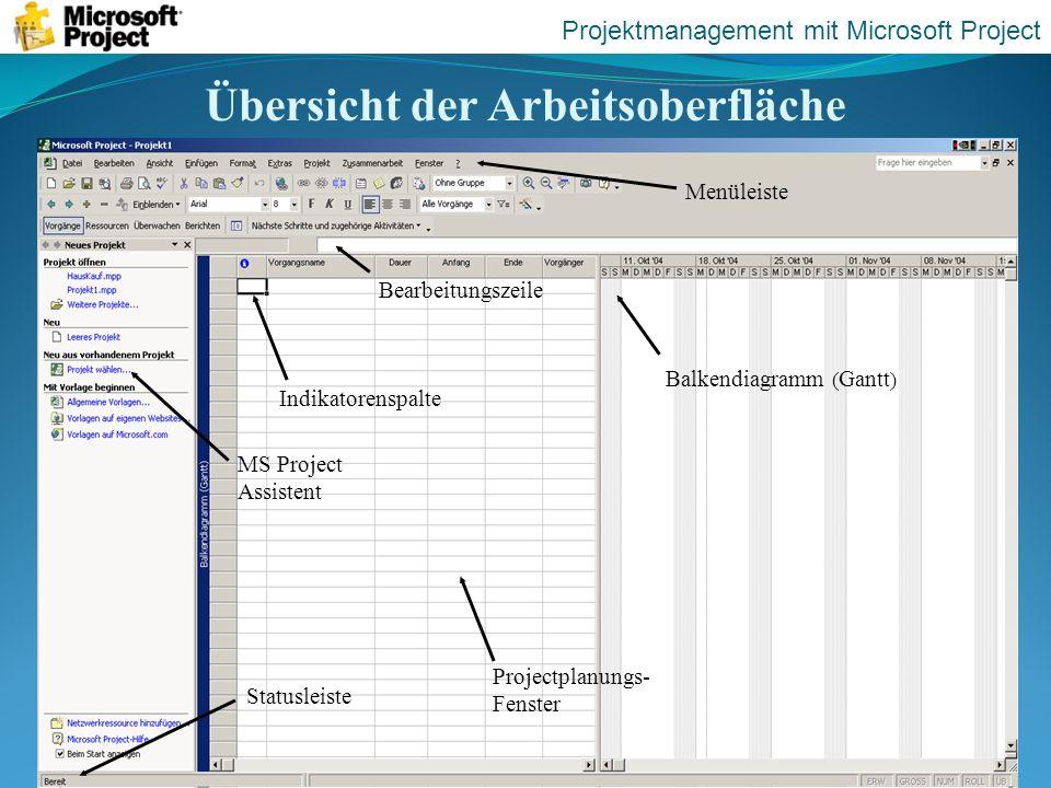 Übersicht der Arbeitsoberfläche Statusleiste MS Project Assistent Indikatorenspalte Bearbeitungszeile Menüleiste Projektmanagement mit Microsoft Proje