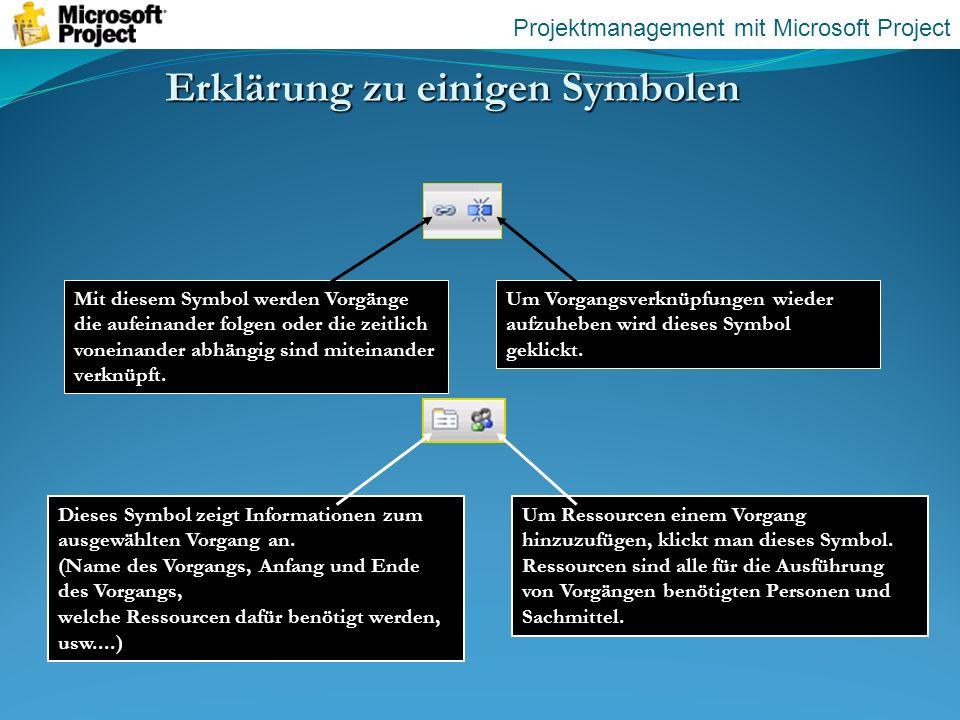 Erklärung zu einigen Symbolen Mit diesem Symbol werden Vorgänge die aufeinander folgen oder die zeitlich voneinander abhängig sind miteinander verknüp