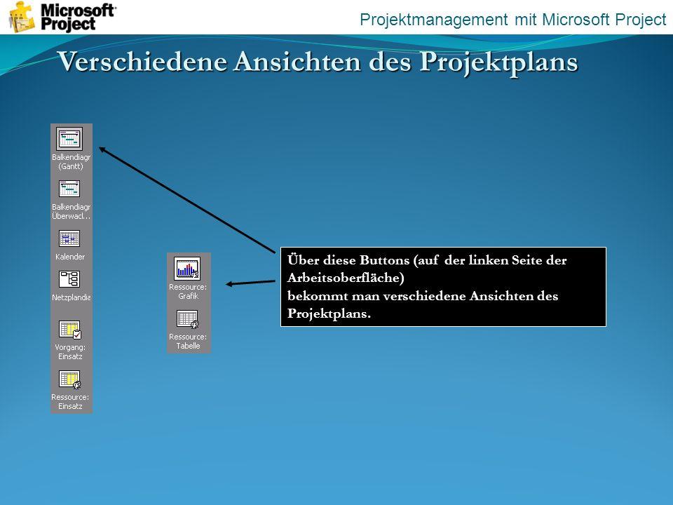 Verschiedene Ansichten des Projektplans Über diese Buttons (auf der linken Seite der Arbeitsoberfläche) bekommt man verschiedene Ansichten des Projekt