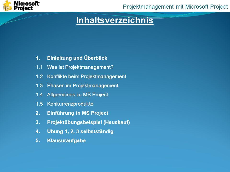 Inhaltsverzeichnis 1.Einleitung und Überblick 1.1Was ist Projektmanagement? 1.2Konflikte beim Projektmanagement 1.3 Phasen im Projektmanagement 1.4All