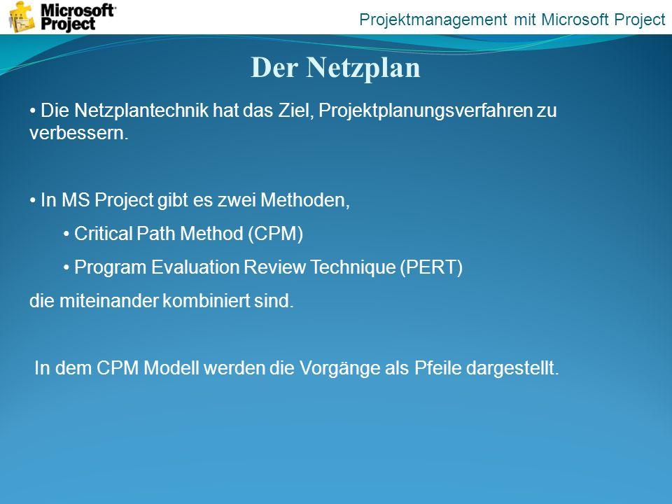 Der Netzplan Die Netzplantechnik hat das Ziel, Projektplanungsverfahren zu verbessern. In MS Project gibt es zwei Methoden, Critical Path Method (CPM)