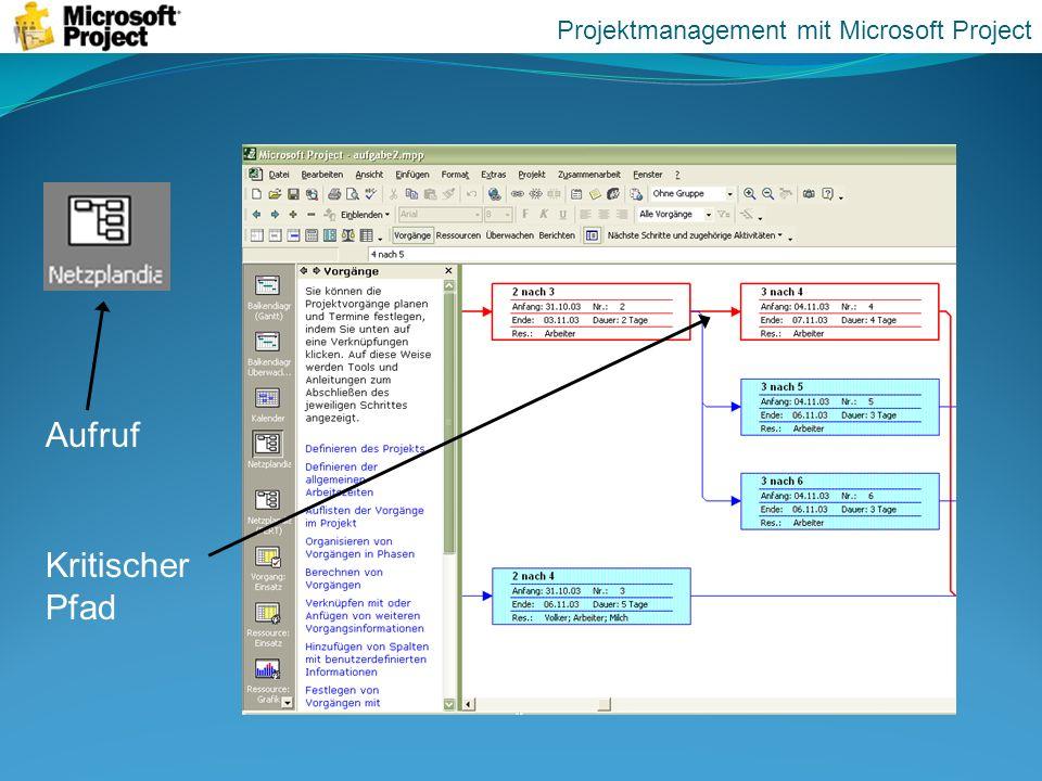 Aufruf Kritischer Pfad Projektmanagement mit Microsoft Project