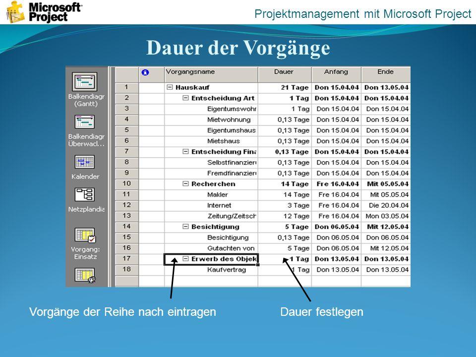 Dauer der Vorgänge Vorgänge der Reihe nach eintragenDauer festlegen Projektmanagement mit Microsoft Project