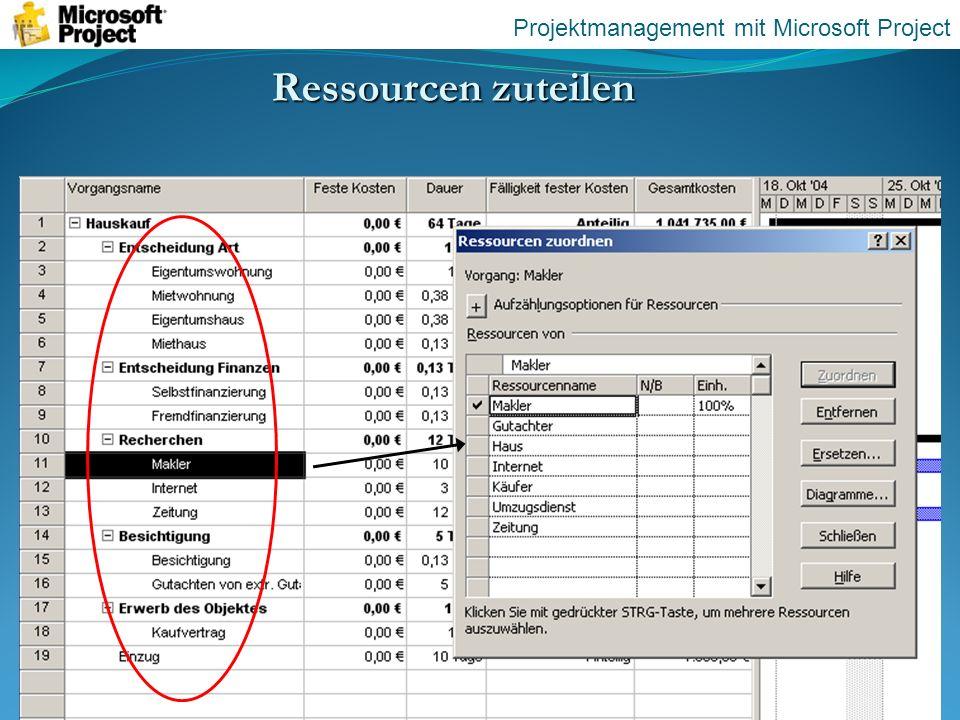 Ressourcen zuteilen Projektmanagement mit Microsoft Project