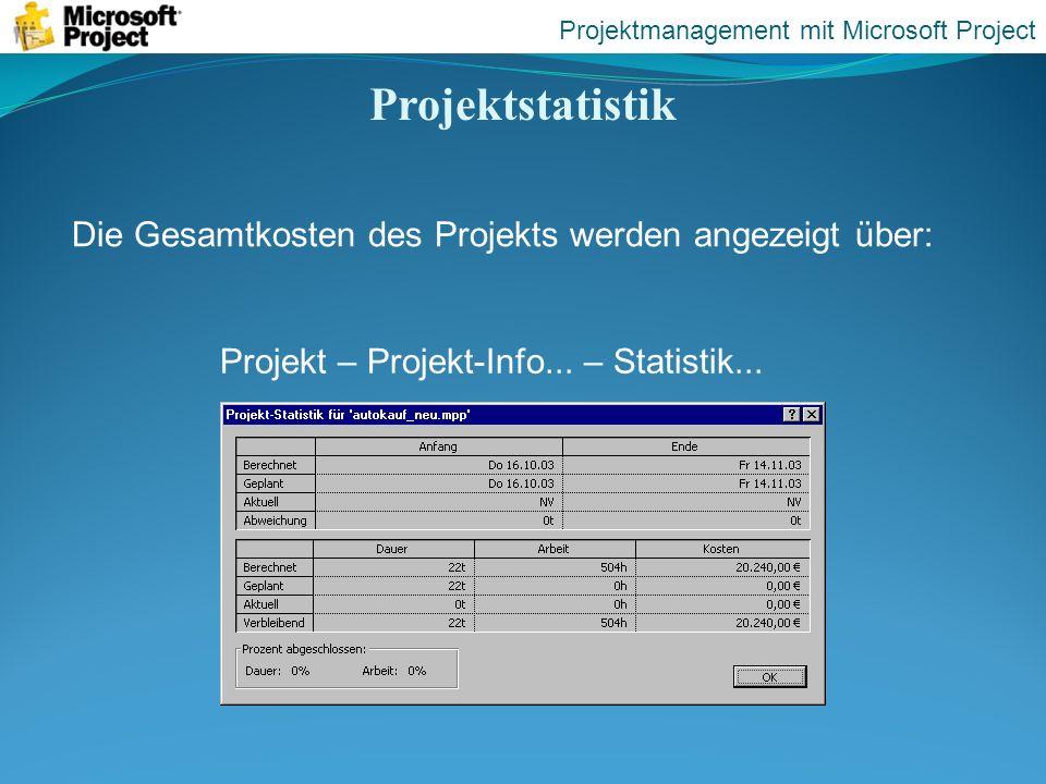 Projektstatistik Projektmanagement mit Microsoft Project Projekt – Projekt-Info... – Statistik... Die Gesamtkosten des Projekts werden angezeigt über: