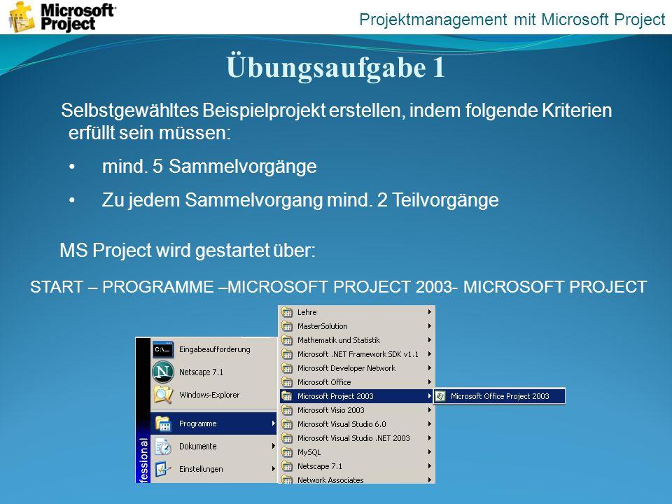 Übungsaufgabe 1 Projektmanagement mit Microsoft Project START – PROGRAMME –MICROSOFT PROJECT 2003- MICROSOFT PROJECT MS Project wird gestartet über: S