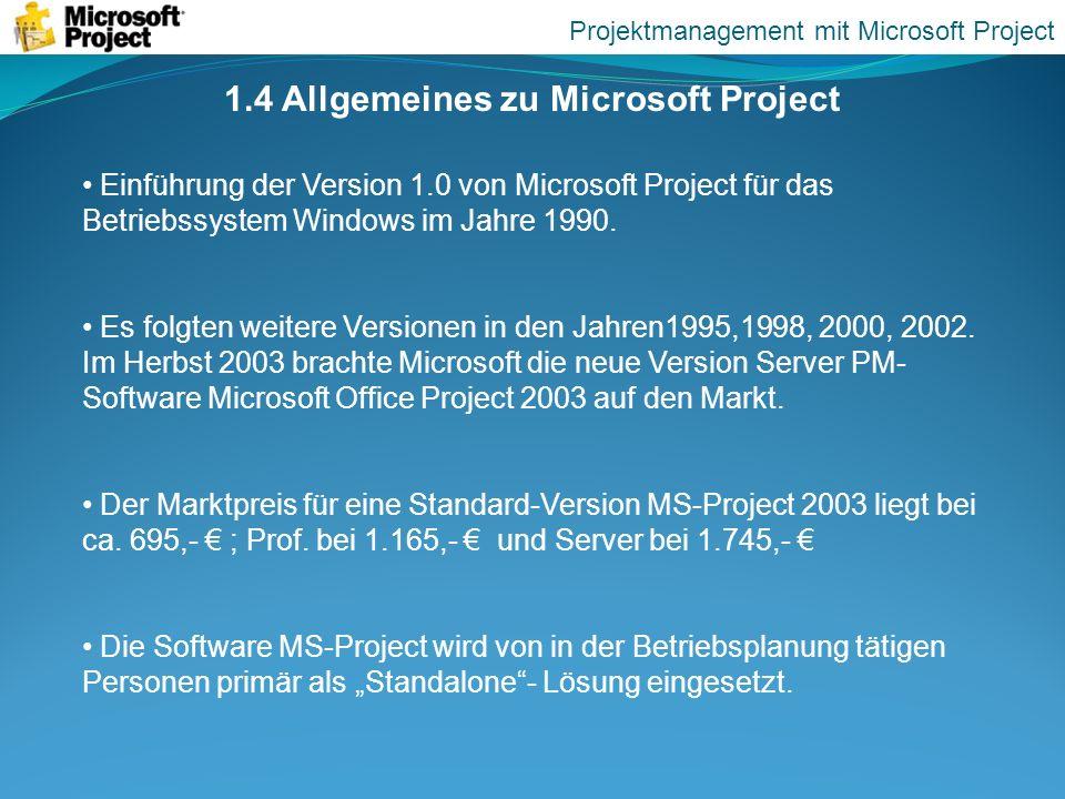 1.4 Allgemeines zu Microsoft Project Einführung der Version 1.0 von Microsoft Project für das Betriebssystem Windows im Jahre 1990. Es folgten weitere