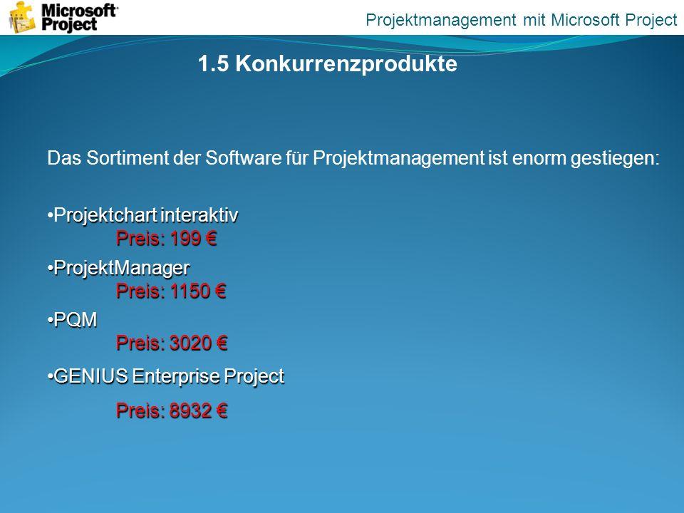 1.5 Konkurrenzprodukte Das Sortiment der Software für Projektmanagement ist enorm gestiegen: rojektchart interaktiv Preis: 199Projektchart interaktiv