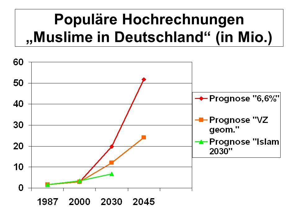 Populäre Hochrechnungen Muslime in Deutschland (in Mio.)
