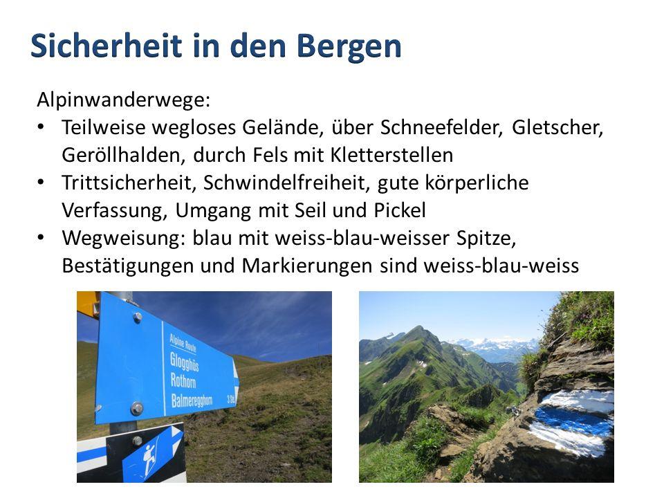 Alpinwanderwege: Teilweise wegloses Gelände, über Schneefelder, Gletscher, Geröllhalden, durch Fels mit Kletterstellen Trittsicherheit, Schwindelfreih