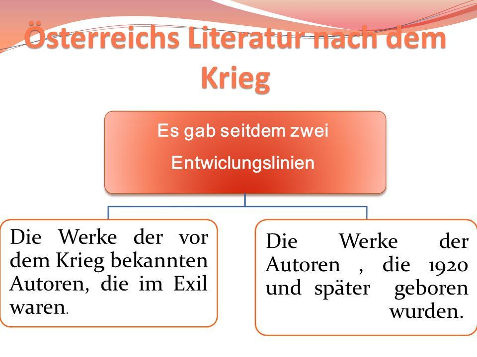 Österreichs Literatur nach dem Krieg Es gab seitdem zwei Entwiclungslinien Die Werke der vor dem Krieg bekannten Autoren, die im Exil waren. Die Werke