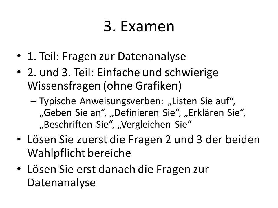 3. Examen 1. Teil: Fragen zur Datenanalyse 2. und 3. Teil: Einfache und schwierige Wissensfragen (ohne Grafiken) – Typische Anweisungsverben: Listen S