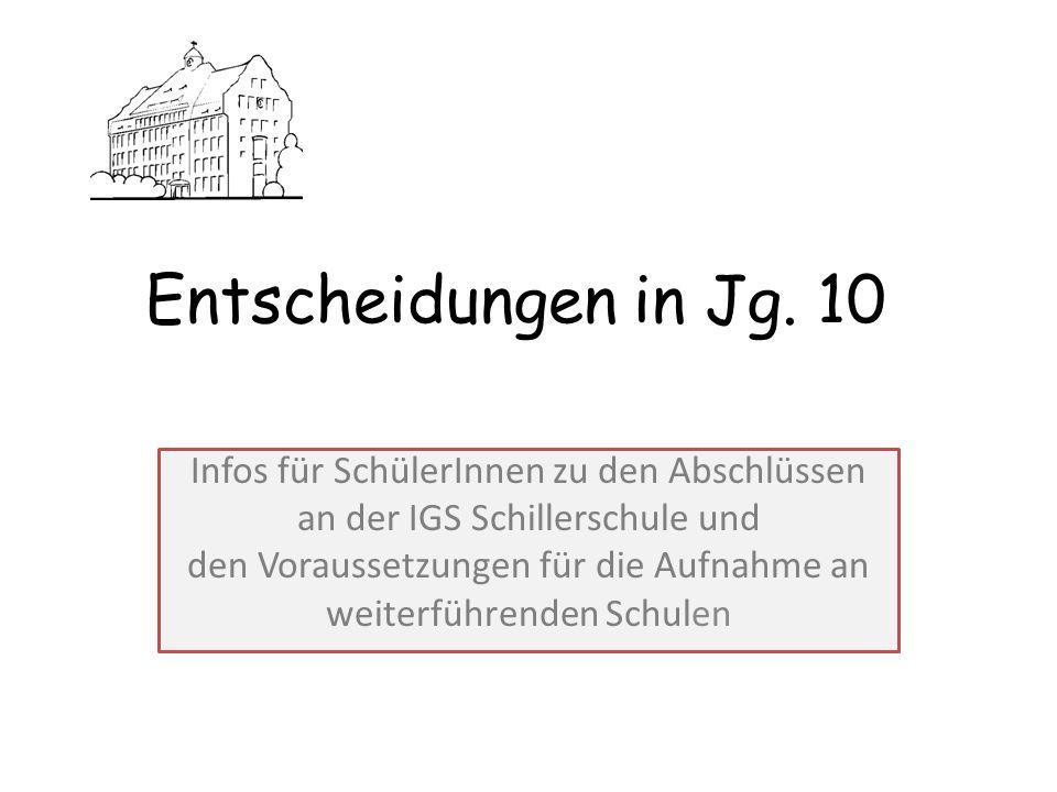 Entscheidungen in Jg. 10 Infos für SchülerInnen zu den Abschlüssen an der IGS Schillerschule und den Voraussetzungen für die Aufnahme an weiterführend