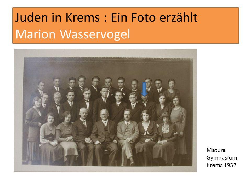Juden in Krems : Ein Foto erzählt Marion Wasservogel Israel Treffen der Kremser Marion Wasservogel (Pfeil) Fritz Karpfen, Abraham Nemschitz, Willi Glass (hinten vlnr) Fritz Nemschitz, Marion Karpfen (Geb.