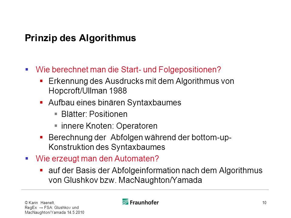 Prinzip des Algorithmus Wie berechnet man die Start- und Folgepositionen? Erkennung des Ausdrucks mit dem Algorithmus von Hopcroft/Ullman 1988 Aufbau