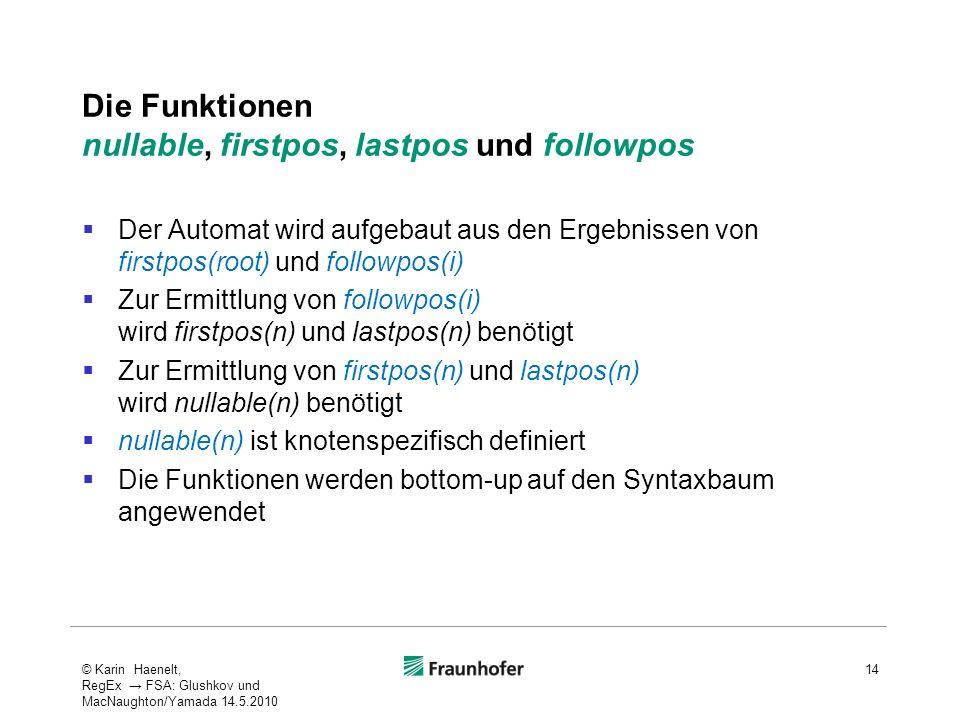 Die Funktionen nullable, firstpos, lastpos und followpos Der Automat wird aufgebaut aus den Ergebnissen von firstpos(root) und followpos(i) Zur Ermitt