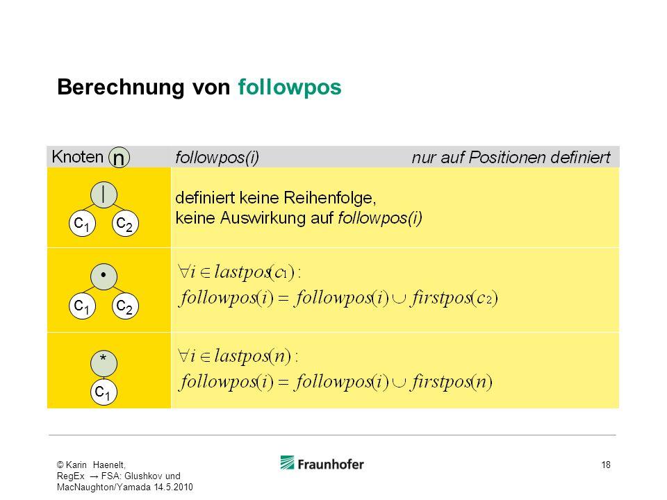 Berechnung von followpos 18 c1c1 c2c2 | c1c1 c2c2 c1c1 * n © Karin Haenelt, RegEx FSA: Glushkov und MacNaughton/Yamada 14.5.2010