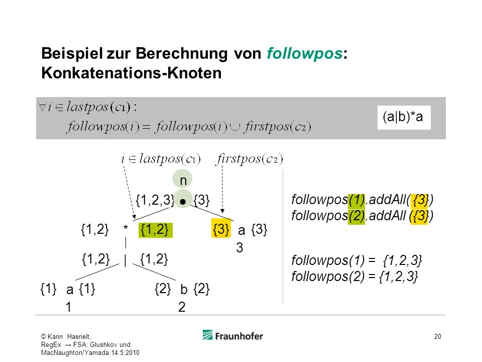 Beispiel zur Berechnung von followpos: Konkatenations-Knoten 20 (a|b)*a ab a | * {1} 12 3 {2} {1,2} {3} {1,2} n {1,2,3} followpos(1) = {1,2,3} followp