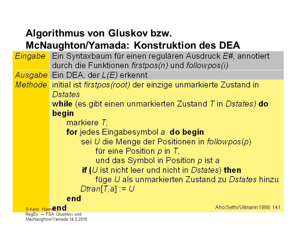 Algorithmus von Gluskov bzw. McNaughton/Yamada: Konstruktion des DEA 22 Aho/Sethi/Ullmann 1986: 141 © Karin Haenelt, RegEx FSA: Glushkov und MacNaught