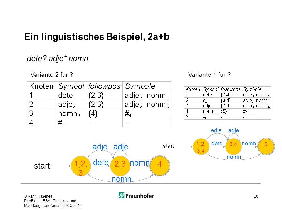 Ein linguistisches Beispiel, 2a+b dete? adje* nomn 1,2, 3 2,3 4 start adje dete nomn adje 1,2, 3,4 3,4 5 start adje dete nomn adje Variante 2 für ?Var
