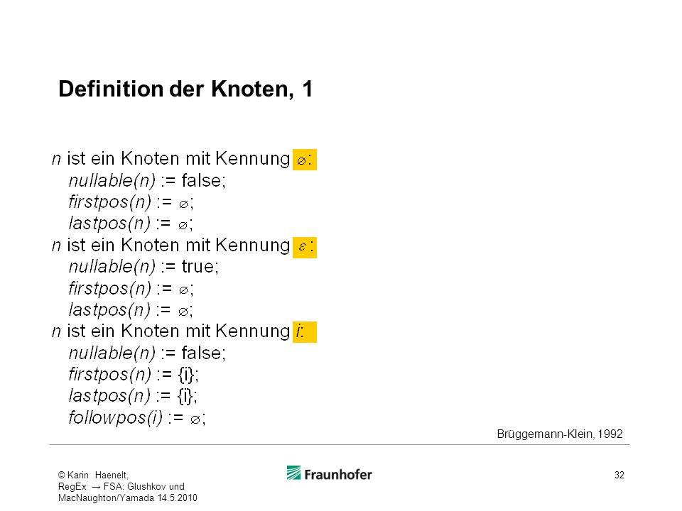 Definition der Knoten, 1 Brüggemann-Klein, 1992 32© Karin Haenelt, RegEx FSA: Glushkov und MacNaughton/Yamada 14.5.2010
