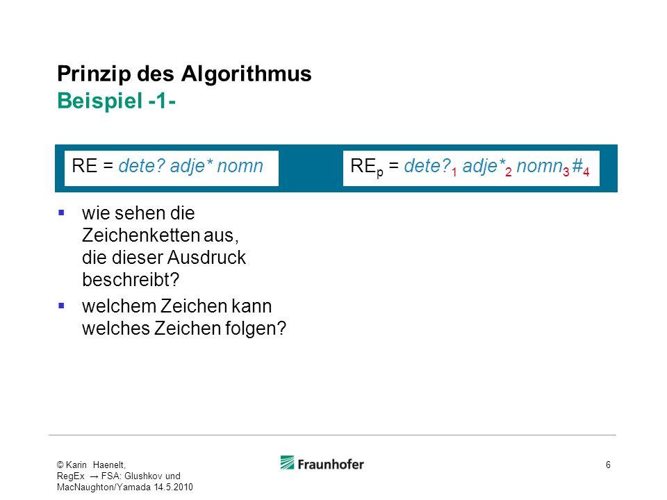Prinzip des Algorithmus Beispiel -1- wie sehen die Zeichenketten aus, die dieser Ausdruck beschreibt? welchem Zeichen kann welches Zeichen folgen? 6 R