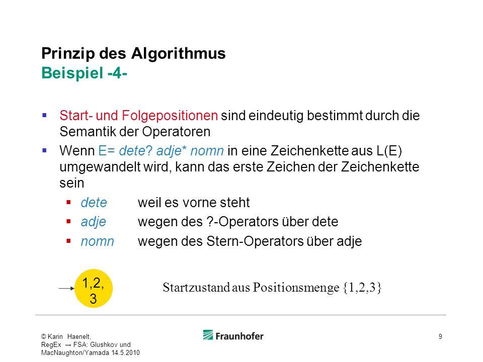 Prinzip des Algorithmus Beispiel -4- Start- und Folgepositionen sind eindeutig bestimmt durch die Semantik der Operatoren Wenn E= dete? adje* nomn in
