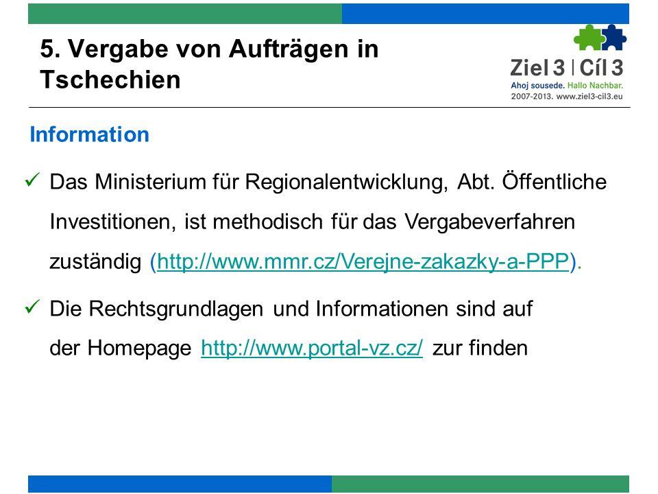Information Das Ministerium für Regionalentwicklung, Abt.