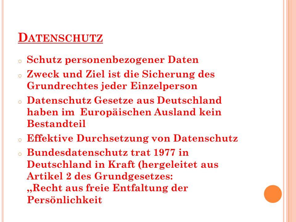 D ATENSCHUTZ o Schutz personenbezogener Daten o Zweck und Ziel ist die Sicherung des Grundrechtes jeder Einzelperson o Datenschutz Gesetze aus Deutsch