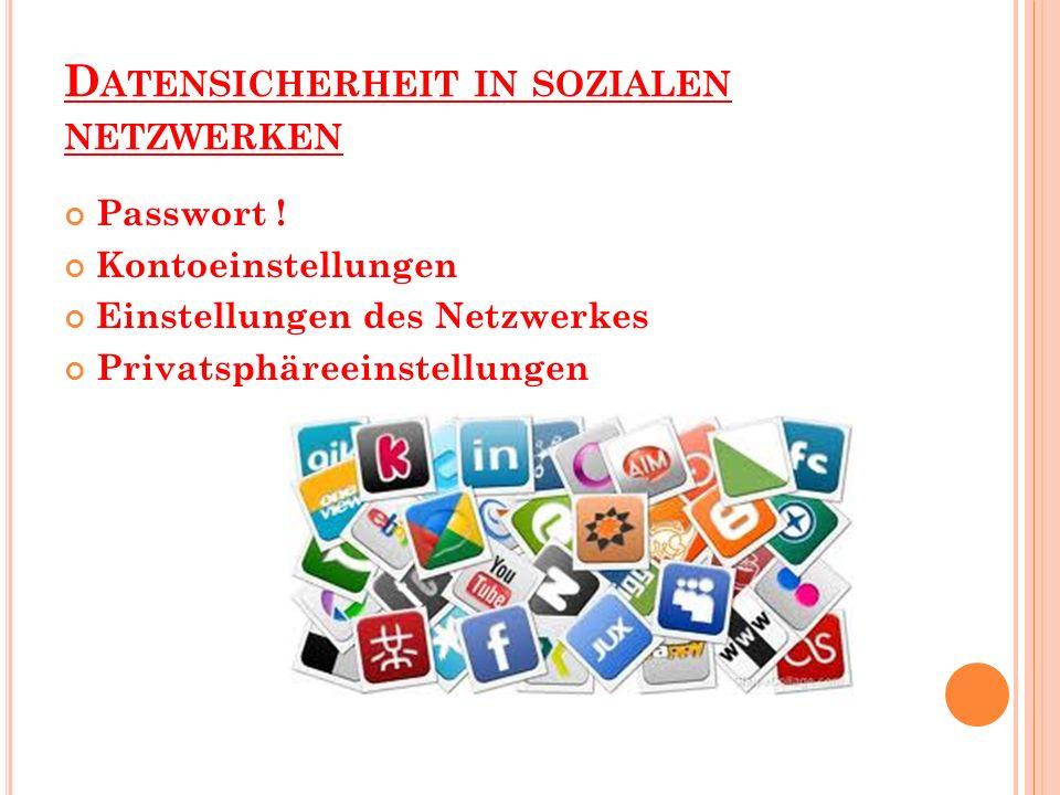 D ATENSICHERHEIT IN SOZIALEN NETZWERKEN Passwort ! Kontoeinstellungen Einstellungen des Netzwerkes Privatsphäreeinstellungen