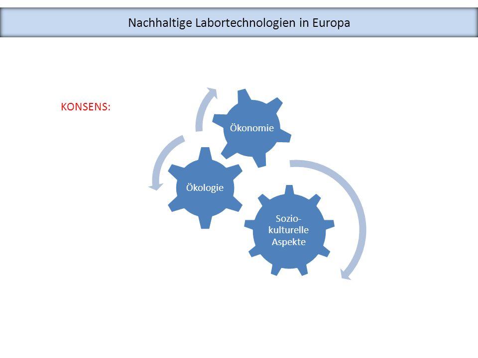 Nachhaltige Labortechnologien in Europa KONSENS: Sozio- kulturelle Aspekte Ökologie Ökonomie