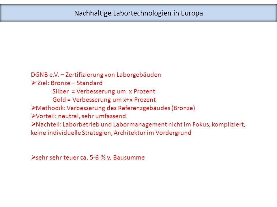 Nachhaltige Labortechnologien in Europa DGNB e.V. – Zertifizierung von Laborgebäuden Ziel: Bronze – Standard Silber = Verbesserung um x Prozent Gold =